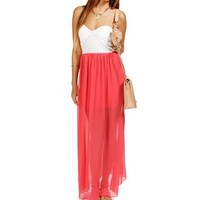 White/Coral Strapless Lace Maxi Dress