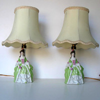 Pair of Vintage ceramic Figurine lamps, Colonial Ladies, Home Decor, Lighting, gift ideas