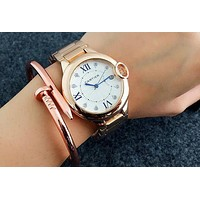 Cartier Ladies Men Trending Casual Quartz Watches Wrist Watch Rose golden G