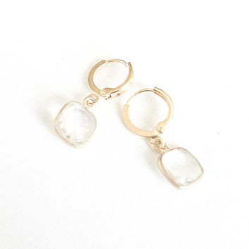 Small Gold Quartz Earrings, Gold Quartz Earrings, Quartz Earrings, Small Quartz Earrings
