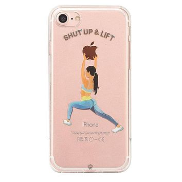 Shut Up & Lift iPhone Case Black Hair Blue Pants