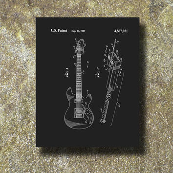 Guitar Patent Art Illustration Printable Instant Download Print Poster UP001b
