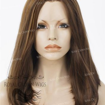 """17"""" Heat Safe Synthetic Lace Front """"Victoria"""" Bob with Straight Texture in Brown With Golden Highlights"""