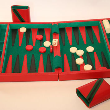 Vintage Backgammon Game in Red Leatherette by CollectorsCoffer