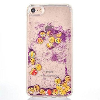 Sunroyal Case for iphone 7/iPhone 8 4.7 inch,New design 3D Bling Glitter Sparkle Liquid case,Dynamic Luminescent Funny Emoji Face Smiley Face back cover for girls-Purple