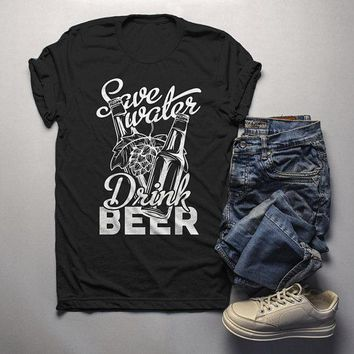 Men's Funny Beer T Shirt Save Water Drink Beer Graphic Tee Craft Beer Gift Idea TShirt Hops