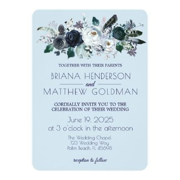 Navy Floral Boho Wedding Invitation on Blue