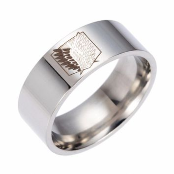 Cool Attack on Titan lureme Silver Stainless Steel  Dual Wing Ring Band for Fans AT_90_11