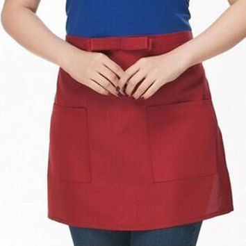 New Western Restaurant Waiter Waitress Half Short Waist Polyester Sleeveless Apron Pocket Kitchen Cafe Pub Brief