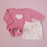 Knitted baby sweater with diaper cover - a sweet pink heart. 100% cotton. READY TO SHIP size Newborn.