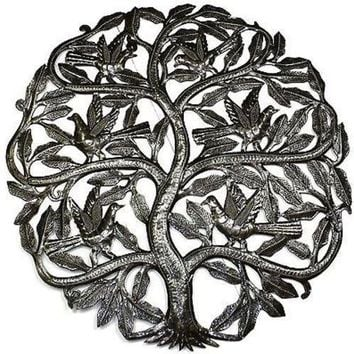 Tree of Life Birds Ready to Fly Metal Wall Art 24-inch Diameter - Croix des Bouquets