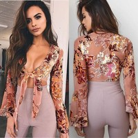 Print Long Sleeves Straps Bandage V-neck Crop Top