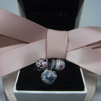 Pandora Charms Pretty in Pink Three Charm Gift Set Authentic Pandora