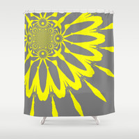 Gray & Yellow Modern Flower Shower Curtain by 2sweet4words Designs | Society6
