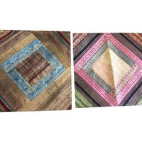 Mogul Indian Sari Throw Decorative Silk Pillow Ethnic Hand Patchwork Cushion Cover: Amazon.ca: Home & Kitchen