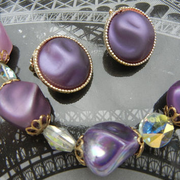 Coro Jewelry Vintage Necklace and Clip-On Earrings in Lavender, Purple, Aurora Borealis (1950s 1960s)