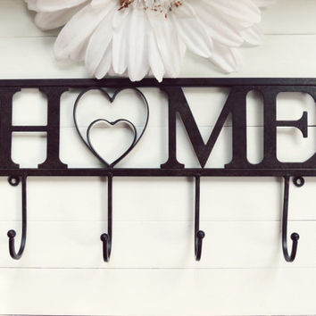 Home Decor / Home Sweet Home / Fixture / Housewarming Gift / Home Heart / Wall Hook / Wall Decor / Towel Rack / Black Decor / Hooks Wall