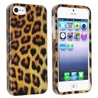eForCity Snap-on Hard Case Cover compatible with Apple iPhone 5, Leopard Skin