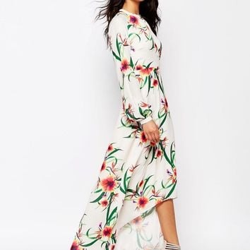 Y.A.S Nuha Long Wrap Dress in Floral Print