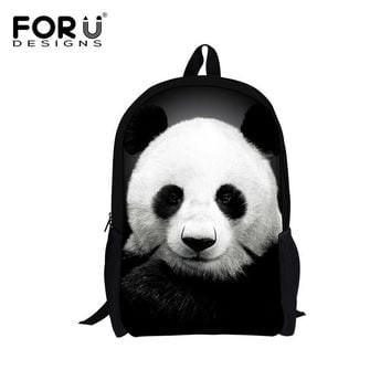 FORUDESIGNS Supreme Customize Backpack Cute Animal Panda Printing Children School Back