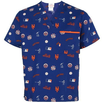 New York Mets Royal Blue Allover Print Scrub Top
