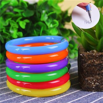 12Pcs Plastic 0.5mm Blue Ink Ballpoint Pen Flexible Cute Creative Soft Bangle Wrist Bracelet Ball Pencil Office School Supplies
