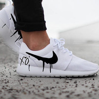 Nike Roshe White with XO and Black Candy Drip Swoosh Paint - Womens size US 7 is Ready to SHIP