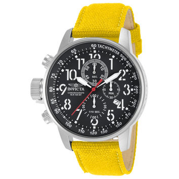 Invicta 11518 Men's I Force Lefty Black Dial Yellow Canvas and Leather Strap Chronograph Stainless Steel Watch