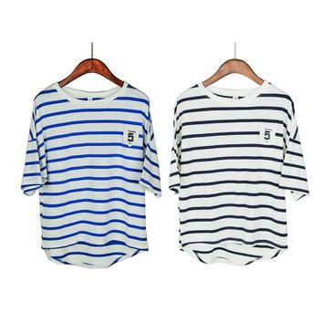 cute loose summer oversize t shirts stripe pure cotton short sleeve loose T-shirt Navy women girls tops cute tees good quality