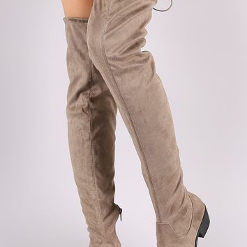 Qupid Drawstring-Tie Over-The-Knee Riding Suede Boots