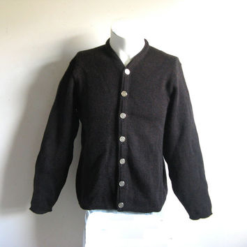 Vintage 1950s Wool Cardigan Dark Cocoa Brown Knit Mens Sweater Medium