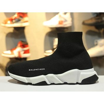 Balenciaga Speed Stretch Knit Low Slip-On Black White Socks Shoes - Best Online Sale