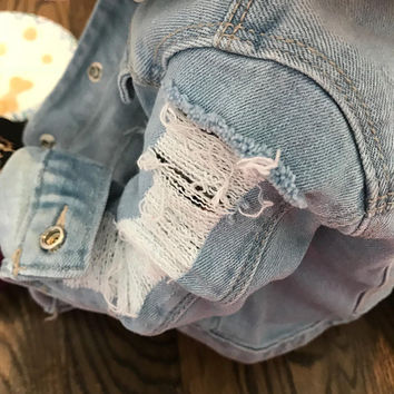 Light Wash Shredded distressed baby toddler girl  jean denim jacket fall winter summer trendy kids clothing
