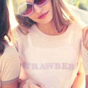 Wildfox Couture Strawberry Vintage Ringer Tee in Rosy Cheeks