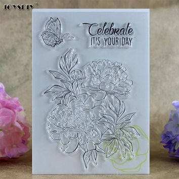 Celebrate It's Your Day Flower Scrapbook DIY photo cards account rubber stamp clear stamp transparent stamp card DIY stamp 16cm