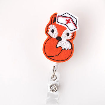 Foxy Nurse - Pediatric Nurse Badge - Peds RN Badge Reels - Cute Retractable Badge Holder - Felt Badge Reels - Nurse Gifts - BadgeBlooms