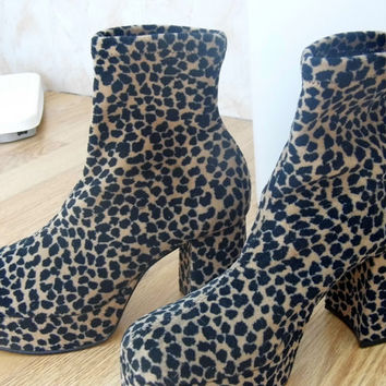 Platform Leopard Print Boots UK 4 Glam Rock Club Kid Shoes Cheetah Wildlife Nature Print Flatforms
