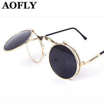 Vintage Sunglasses Round Steam Punk Metal Women Coating Sun Glass Men Retro Circle