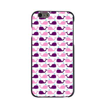 DistinctInk® Hard Plastic Snap-On Case for Apple iPhone - Purple Pink Cartoon Whales