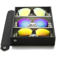 Limited Edition Metal Aviator Sunglasses W/ Mirror Lenses + Travel Case 1486