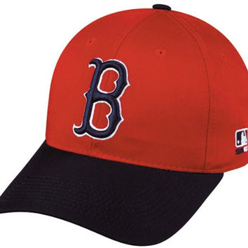 MLB Cooperstown YOUTH Boston RED SOX Red/Navy Hat Cap Adjustable Velcro TWILL Throwback