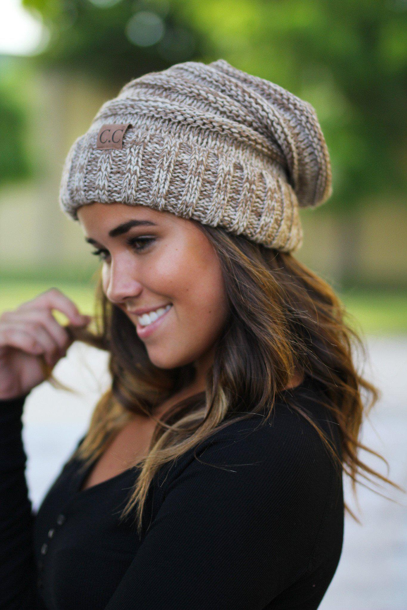 2d3d25832 Taupe Two Toned Slouchy Beanie