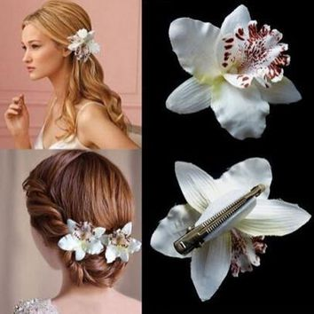 Bohemia Style Bridal Flower Orchid Leopard Hair Clip Beauty Hairpins Barrette Wedding Decoration Hair Accessories Beach Hairwear