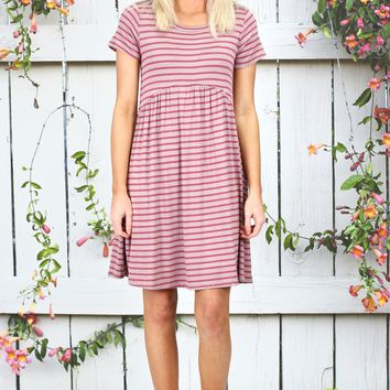 Classic Stripes Babydoll Dress {Burgundy}