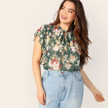 Plus Size Bohemian Tie Neck Flutter Sleeve Floral Print Women Blouse Casual Bow Lace Up Stand Collar Ladies Tops