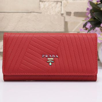 """Prada"" Simple Fashion Button Long Section Three Fold Wallet Handbag Women Purse"