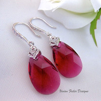 Red Earrings Wedding Jewelry CZ Bridesmaid Gift Ruby CZ - Vivian Feiler Designs | Wedding Jewelry |