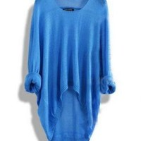 Batwing Casual Loose Asymmetric Blue Sweater