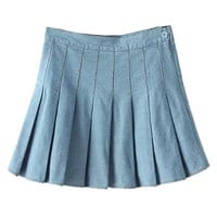 Light Blue Pleated Denim Skater Skirt