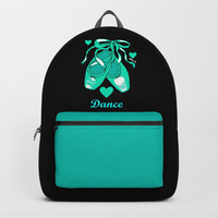 Love to Dance Teal Ballet Shoes Backpacks by Artist Abigail